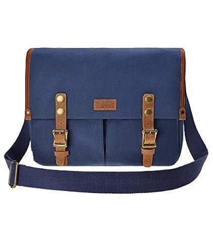 ZLYC Unisex Vintage Genuine Leather and Canvas Camera Bag Messenger Bag for DSLR Camera and Lens (Blue)