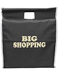 Big Shopping Bag With Stick Handle/Vegetable Bag/Grocery Bag/Travel / Storage Bag- (18x6x20.5inch) - Black