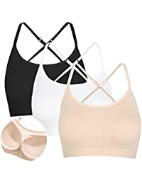 3f6d7779ef96f7 DYLH Mini Camisole Crop Top Wirefree Bra Padded Strap Cami Bra Strappy Top  Vest Sports Bra Short Bralette for…