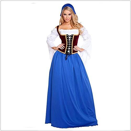 Shisky Cosplay kostüm Damen, Oktoberfest Kostüm Lange Dame Bier Bier Mädchen Halloween Kleid Kostüm Erwachsene weibliche Piraten Kostüm Cosplay