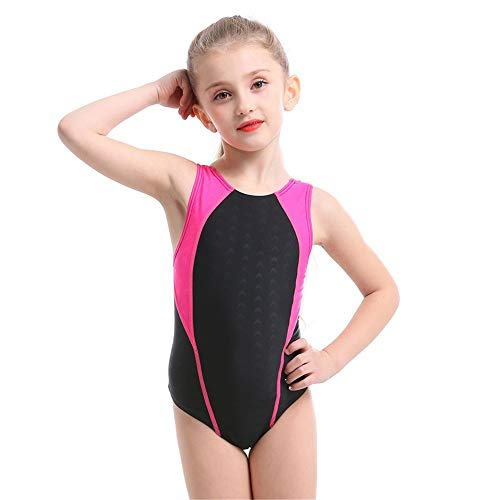 DGCOSW Mädchen Sleeveless Colorblock Badeanzug Kinder Sommer Strand Bademode Sport Training Badeanzug Prinzessin Ballett Tanz Gymnastic Trikots Strandkleidung (Farbe : Rose rot, Größe : 2XS) Colorblock Sleeveless