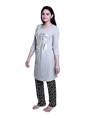 TRAZO Thought Printed Round Neck Full Sleeves Grey Long Cotton T Shirts for Women