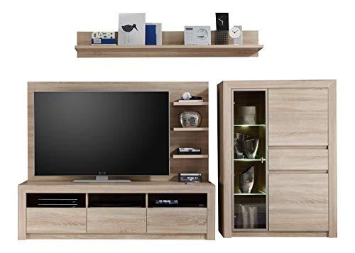 Maisonnerie 1415-953-45 Ensemble Meuble TV Design Sevilla Chêne Sonoma Claire LxHxP 268x156x48 cm