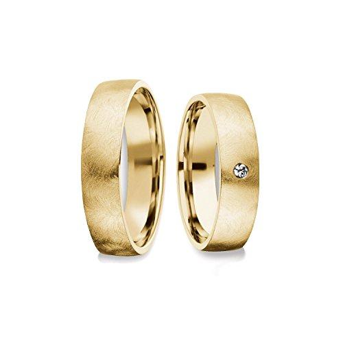 Eheringe Trauringe Gold Set AMOONIC mit SWAROVSKI Zirkonia Freundschaftsringe Paarpreis Verlobungsringe Partnerringe Silber hochwertig vergoldet Ringpaar Hochzeitsringe Eheringe 5mm FF379VGGGZIFA (14k Gold Plattiert Trauringe)