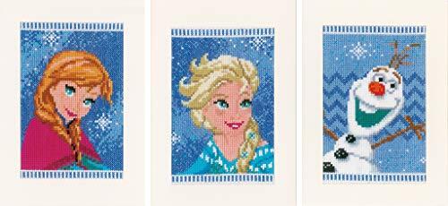 Vervaco–Kit para cojín de Punto de Cruz Kit de Punto de Cruz: Tarjetas de felicitación: Frozen–Elsa, Olaf y Anna (Juego de 3), Varios, Juego de 3
