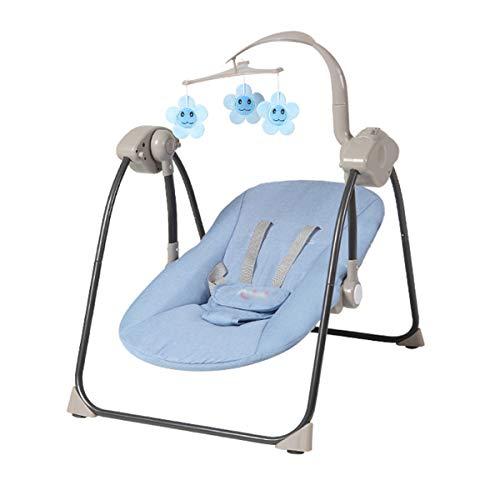 BYCDD Elektrisch Babywippe, Verstellbare RüCkenlehne 3-eindeutige Bewegungen Tragbar Multifunktion Babywippen Schaukeln Das beste Geschenk für Mama,Blue_50X68X75CM