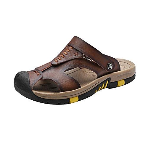 H&W Uomo Pelle Sandali Punta Chiusa con Mobile Cinturino Alla Caviglia Marrone