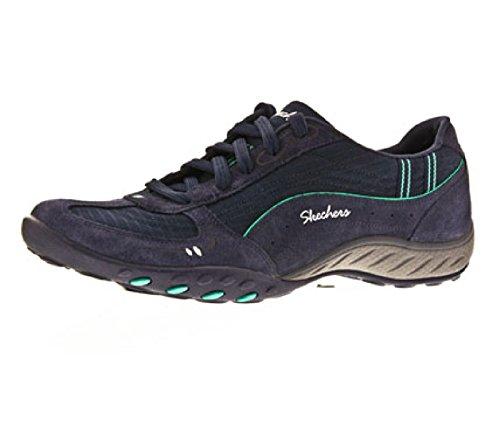 Skechers Breathe Easy Just Relax, Chaussons Sneaker Femme Bleu marine / Aqua