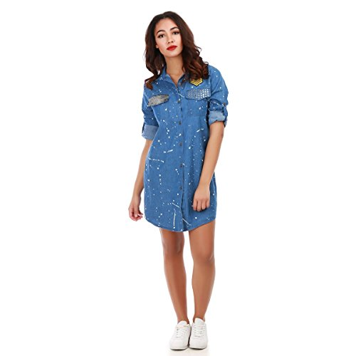 La Modeuse - Robe chemise courte en jeans bleu Bleu