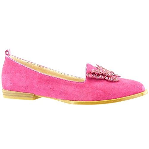 Angkorly Damen Schuhe Derby-Schuh - Patent - Glänzende - Fertig Steppnähte Blockabsatz 2.5 cm Fushia