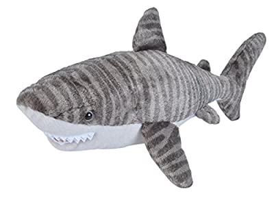 Wild Republic 22487 Tiger Shark Plush Soft Toy, Grey/White, 30 cm