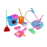 CARIEDO 9PCS Mini House Cleaning Tool Doll House Accessories for Doll House Pretend Play Toy Mini Pretend Play Mop Broom Toys