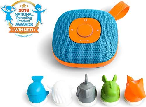 Jooki J1000 Lautsprecher für Kinder mit Spotify-Integration, steuerbar durch 5 mitgelieferte Figuren (microSD-Speicherkarten Unterstützung, 8 Std. Akkulaufzeit, Spritzwassergeschützt) Blau-Orange