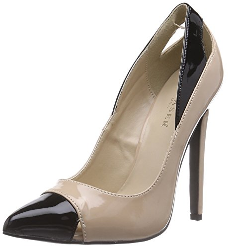 Pleaser Devious SEXY-22, Damen Pumps, Beige (Nude-Blk Pat), 40 EU (7 Damen UK) Sexy Classic Pumps