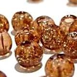 50Stück 8mm Crackle Glasperlen–Licht Braun–A1822