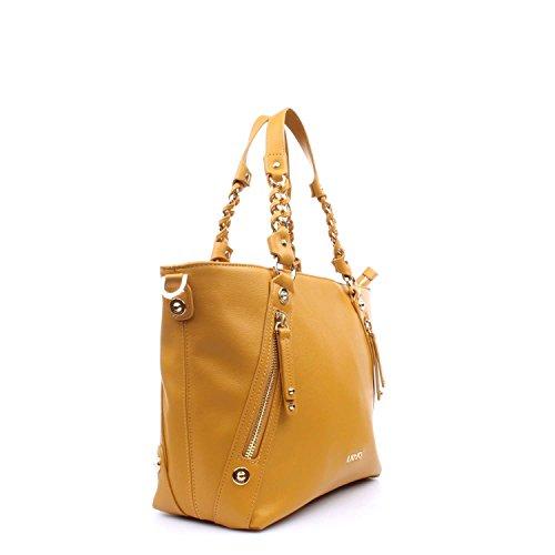 BORSA SPALLA LIUJO NERO shopping con zip lavandalarg 36cm alt 30 cm alt manico 20 cm 60948 HARVEST GOLD