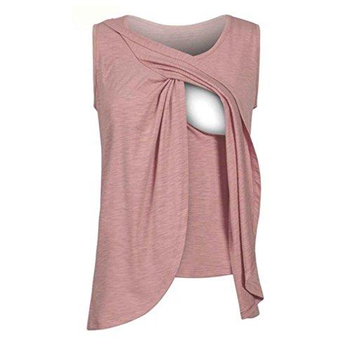 Masterein Frauen Elastische Pflege Tank Tops Sommer Stillen Weste Kleidung Schwangere Stillen Mutterschaft Weiche T-Shirts roter Ziegelstein M Baumwolle