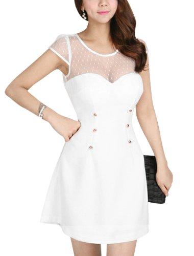 Damen Semi-transparent, Netz-Details Patchwork-Kleid Weiß - Weiß