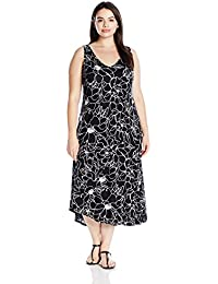 Marc New York Performance Women's Plus Size Asymmetric Printed Slip Dress