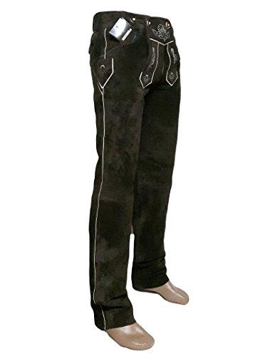 SHAMZEE Trachten Lederhose lang in braun farbe Echt Leder SHAMZEE Trachtenlederhosen Gr. 46-62 (taillenmaß stehen im beschreibung) (Braun, 52)