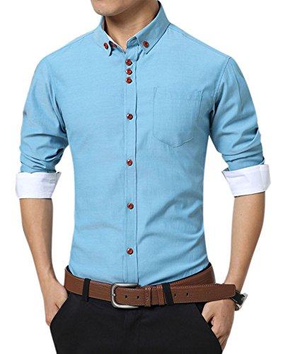 Uomo slim fit camicia manica lunga casual chic tinta unita camicia azzurro l