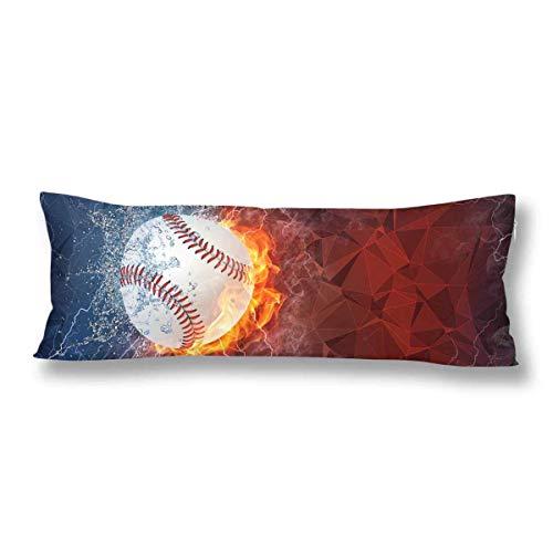 CiCiDi Seitenschläferkissen 40 x 145 cm Softball-Ball auf Feuer und Wasser Sofa Decorative Maschinenwäsche mit Reißverschlüssen Mutterschafts- / Lange Kissenbezug -