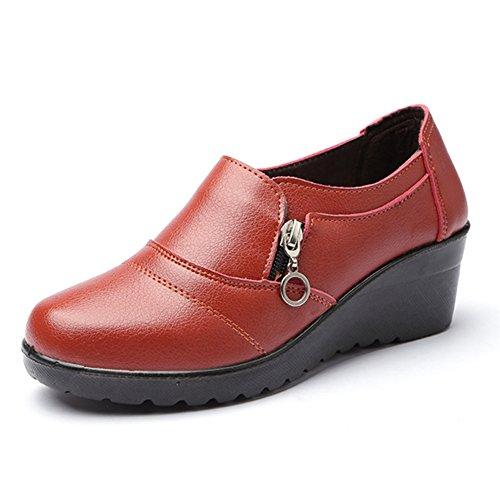 Damen Sparziergang Schuhe Anti-Rutsch Weich Sohle Keilabsatz Reißverschluss Rund Zehen Low-Top Schuhe Gelb