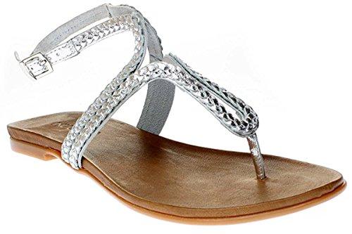 Inuovo 6196 - Damen Sandalette Pantolette Zehentrenner Silber