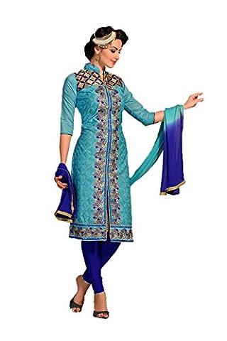 IWS Indian Women Designer Anarkali Blue Salwar Kameez R-13098