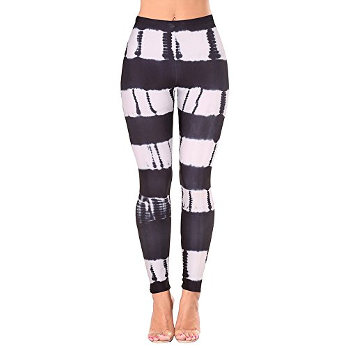 Vertvie Femme Leggings de Sport Imprimé Pantalon Collant Stretch Extensible pour Yoga Fitness Jogging Noir