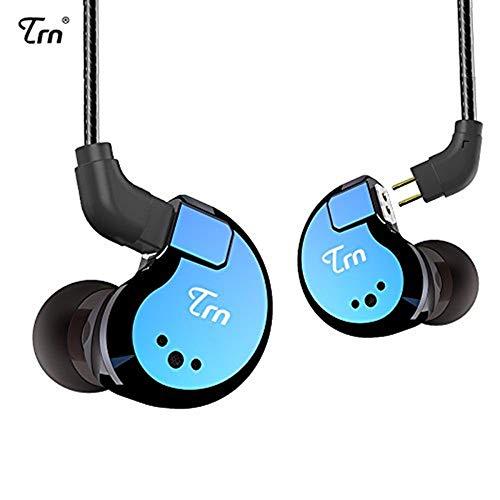 Yinyoo TRN V80 In Ear kopfhörer Hybrid 2BA 2DD HiFi Ohrhörer mit 2 dynamischen Treibern und 2 Balanced Armaturen Studio Kopfhörer(Blau kein Mic) Hybrid-kopfhörer-kopfhörer