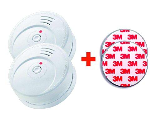 GS506 G 2er Set Rauchmelder KRIWAN zertifiziert EN14604 mit 10 Jahres Batterie inkl. 2 x Magnetbefestigung 3M Premium selbstklebend (Selbstklebende Rauchmelder)
