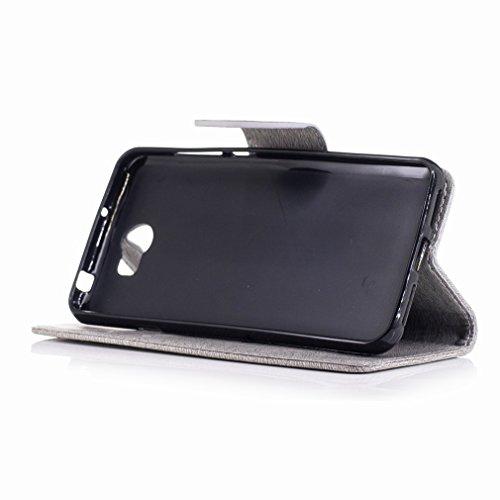 Yiizy Huawei Y5 II (Huawei Y5 2, Honor 5) Custodia Cover, Fiore Di Farfalla Design Sottile Flip Portafoglio PU Pelle Cuoio Copertura Shell Case Slot Schede Cavalletto Stile Libro Bumper Protettivo Bor Grigio