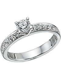 Zertifikat Klassischer 18 Karat (750) Weißgold Damen - Diamant Ring Round 0.76 Karat K-VS2 (Ringgröße 48-63)
