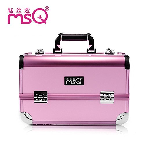 Meydlee Makeup Train Case Pink Portable Alumi Alloy Professional Makeup Artist Large Capacity Multilayer Cosmetic Case Makeup Organizer Kit With Extendable Trays And Key Lock Fit All Cosmetics