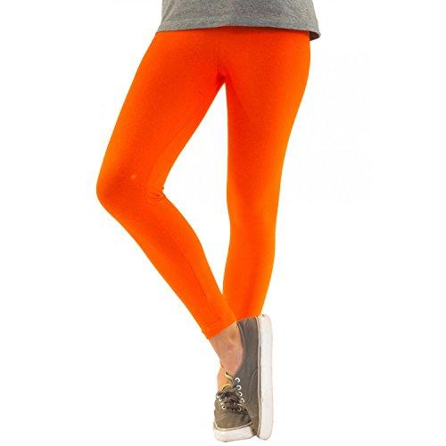 ggings aus Baumwolle Leggins Knöchellang in schwarz weiß grün grau rot gelb, Farbe: Orange, Größe: 44-46 (Orange Und Gelb)