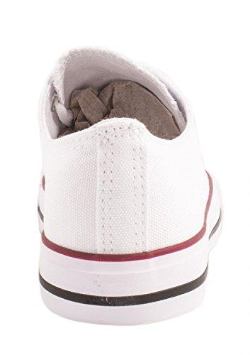 Elara Unisex Sneaker | Bequeme Sportschuhe für Damen und Herren | Low top Turnschuh Textil Schuhe 36-46 Weiss Basic