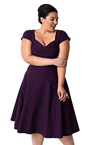 Oriention 50er Retro Audrey Hepburn Schwingen Pinup Polka Dots Rockabilly Damen Vintage-Kleid Plus Size  54 (6XL),   Violett (Lila Plus Size Kleid)