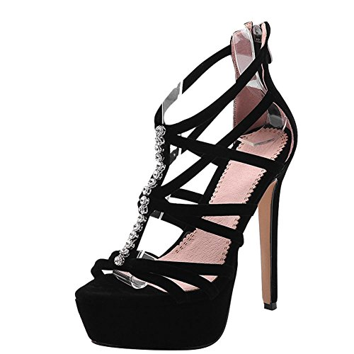 Mee Shoes Damen Stiletto Reißverschluss Plateau Sandalen Schwarz