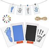 Baby Handabdruck Fußabdruck Set mit Stempelkissen, 4pcs Impressum Karten, 10pcs Holzklammern und Seil, 100% Safe für Neugeborene und Kleinkinder - Schwarz und blau