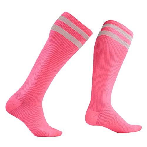 Mitte Wandern Socken (Middle High Socken,BEETEST Unisex Frauen Männer Streifen Compression Stocking Mitte Hohe Socken für Laufen Outdoor Sports Wandern Skifahren Rose Größe S / M)