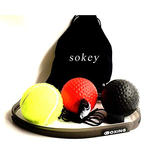 sokey Boxtraining, Boxtraining Ball, Kampf Dekompression Vent Ball Reflex Training Koordinationsfähigkeit Geschwindigkeit Präzision Dekompression -3balls - Kopf Boxen
