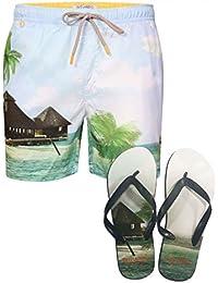 Hommes Décontracté Plage Surf Shorts De Bain De L'été Tokyo Laundry Avec Tongs