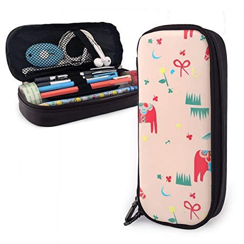 OUYouDeFangA Ethnische rote Pferde PU Leder Tasche Aufbewahrungstasche tragbar Student Bleistift Büro Schreibwaren Tasche Reißverschluss Geldbörse Make-up Multifunktionstasche -