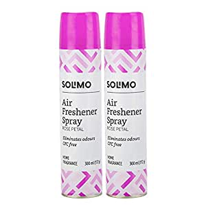 Amazon Brand - Solimo Home Air Freshener Spray, 300 ml - Rose Petal (Pack of 2)