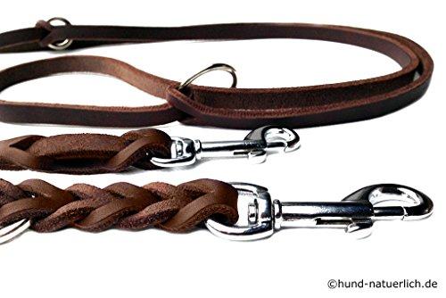 Lederleine Hund 3-fach verstellbar geflochten, braun verchromt Fettleder Führleine (2,40m x 10mm)