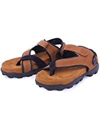 d073e1799085 Emosis Men s Stylish E0334 Tan Brown Green Colour Formal Casual Ethnic  Office Party Daily Wear Sandal