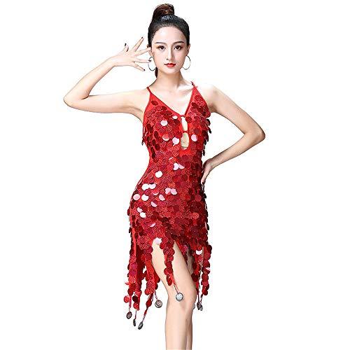 Latin Dance Kleid Frauen Dancewear Pailletten Fransen Quasten Ballsaal Samba Tango Latin Dance Dress Wettbewerb Kostüme Themen Party Swing Dress (Farbe : Rot, Größe : Einheitsgröße)