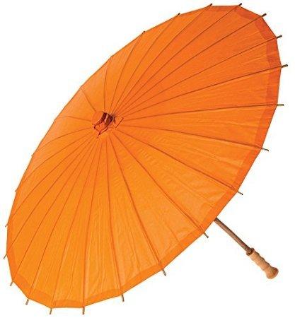 J*myi fidy chinesischen Stil, Bambus-Stick Sonnenschirm Regenschirm mit Antik-Weiß - orange Orange