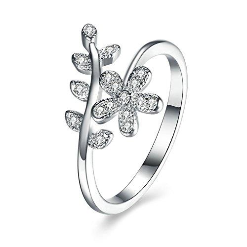 Coniea donna anelli gioielli anello in argento sterling da donna anello fiore foglia gemma argento e argento, 11, colore: silver, cod. j21jz1549